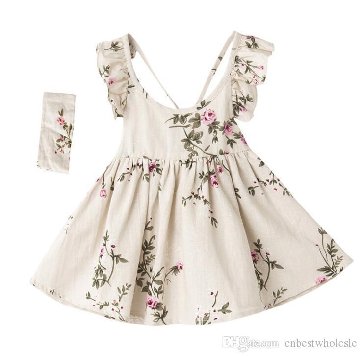 986e183e38a2 2019 Retail Summer Girl Flower Dresses Kids Clothing Princess ...