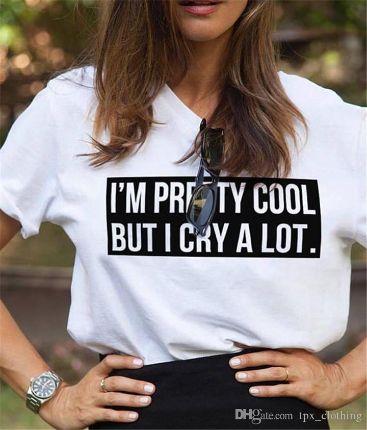 Pretty t shirt Cool words cool but cry short sleeve gown Street leisure  tees Unisex clothing Pure color cotton Tshirt