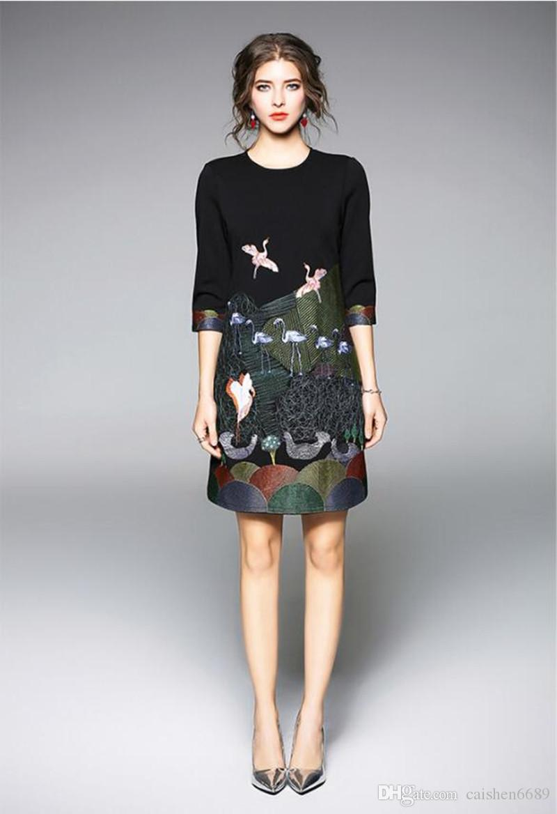 고품질의 새로운 패션 드레스 2018 봄 여름 여성 의류 기질 우아한 자수 드레스 O - 목 긴팔 단어 드레스