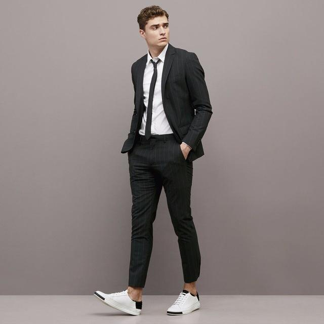e1bb216f4bd 2019 Vertical Stripe Men Suits Black Business Smart Casual Wedding Classic  Jacket Slim Fit Blazer Man For Business Wedding Groomsman From Misoway
