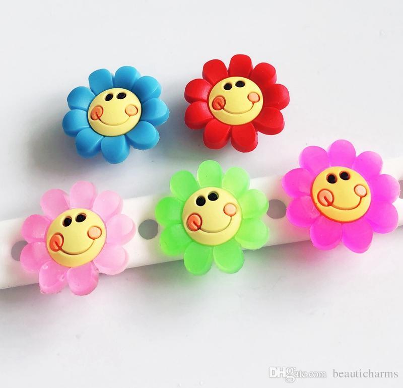 923d69fe65905 10PCS PVC Smile Face Flower Shoe Charms Soft decoration Fit Kid s Cross  Shoes, Cross Bracelets, Shoe Accessories, Children gift