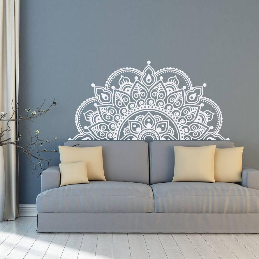 Vinyl Wall Decal Half Mandala Mural Yoga Lover Gift Home Headboard Decor Design Car Window Stickers AY1441 Cheap Art Decals