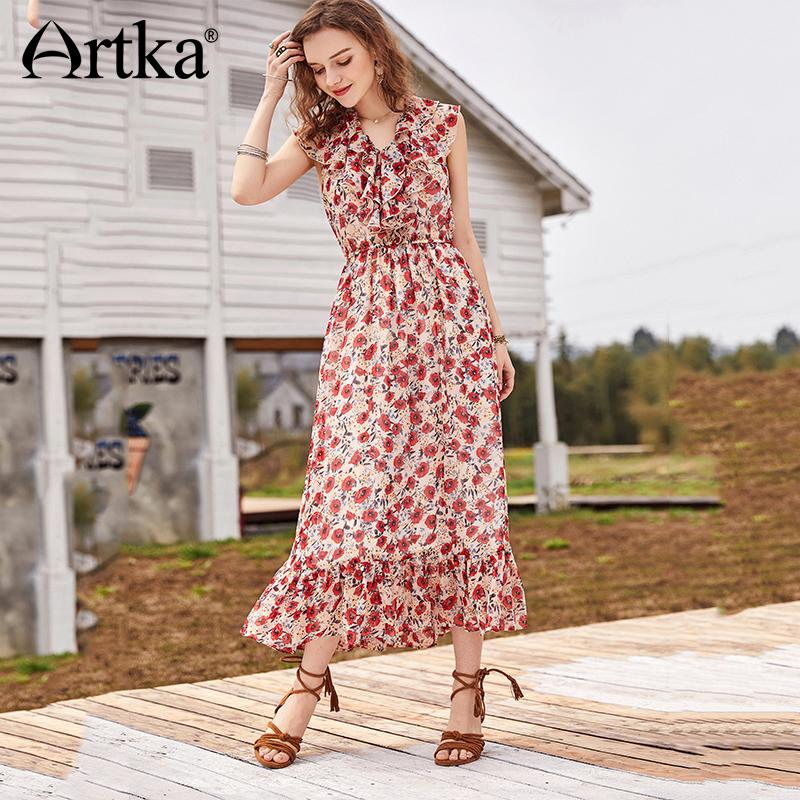cc40a5875eec0 Artka 2018 Summer Women Holiday Style Slim Waist Sleeveless V Neck High  Waist Big Swing Romantic Ruffled Print Dress LA12087X White Dresses For  Cocktail ...