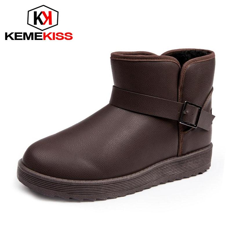 9ad21c800ef0 KemeKiss Men Thick Fur Snow Boots Buckle Warm Ankle Boots Flats ...