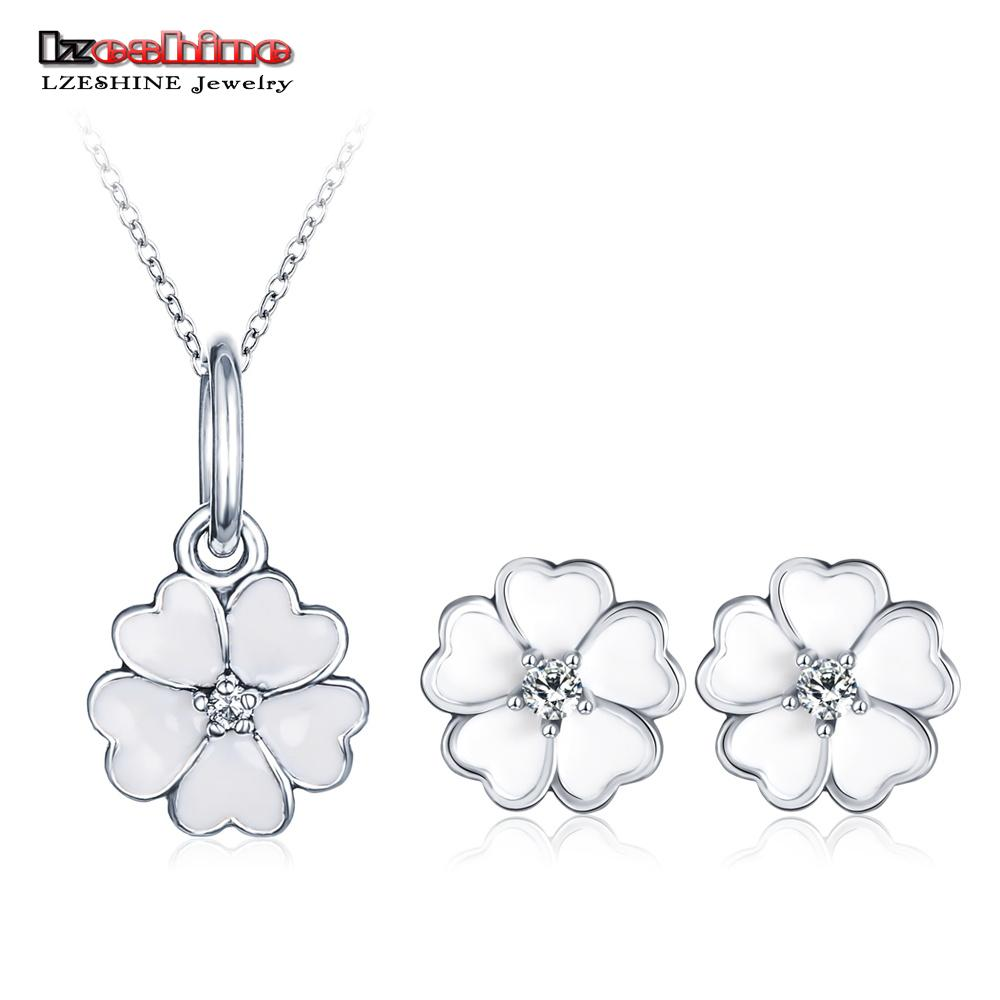 91173a6ee9a 2019 LZESHINE Elegant Womens Jewelry Set White Enamel Flower Pendant Stud  Earrings Set For Wedding Statement Jewelry Bijoux From Ifso, $33.34 |  DHgate.Com