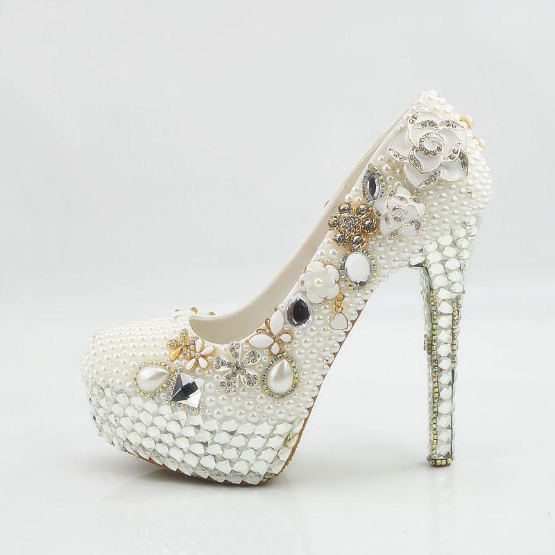 a71fad81ca4 2018 Handmade fashion crystal platform High Heels white pearls Wedding  Shoes Bridal round toe High Heels elegant Party Prom Shoes Plus Size