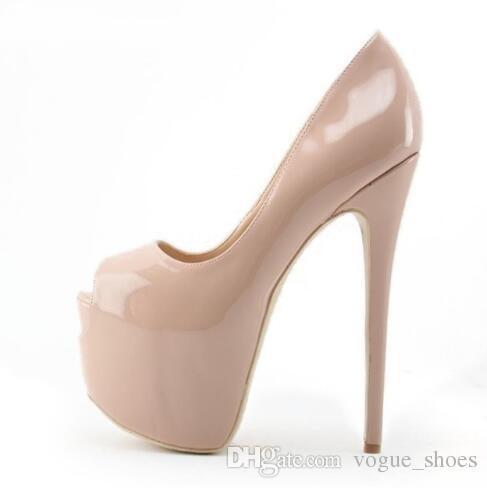 Classic Nude Black Patent Leather Ultra High Heel Shoes 16cm Heel Wedding  Shoes Platform Stiletto Heels Open Toe Pumps Big Size 10 Best Shoes Stacy  Adams ... 9216038bc79c