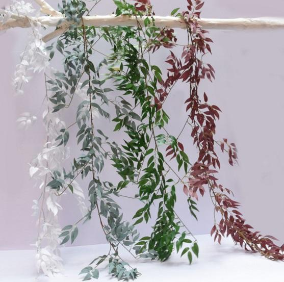 5.6ft Artificial Hanging Willow Leaves Vines Twigs Fake Silk Willow Plant Leaves Garland String in Green for indoor/outdoor Wedding Decor