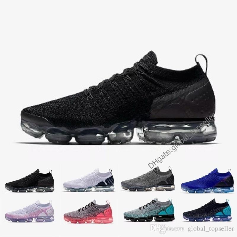 94317e29b0 Acheter Nike Air Max Vapormax New 2018 2.0 Triple Blanc Noir Rouge Bleu  Oreo Hommes Femmes Formateurs Chaussures De Sport Sneakers Designer  Chaussures De ...