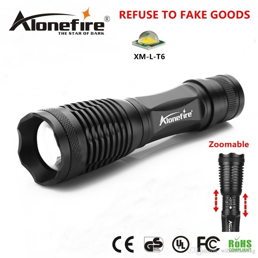 Alonefire E007 CREE XM L T6 Tactical Flashlight 3800Lumens LED Zoomable  Torch LED Bulb Suitable For 3 AAA Ro 1x18650 Rechargeable Batteries Small  Flashlight ...
