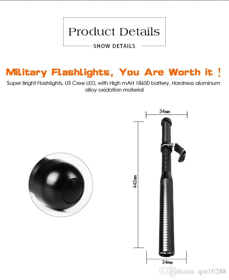 Baton de défense ultime, la lampe de poche de sécurité de garde, tension maximale, 3000 lumens, briseur de verre, rechargeable