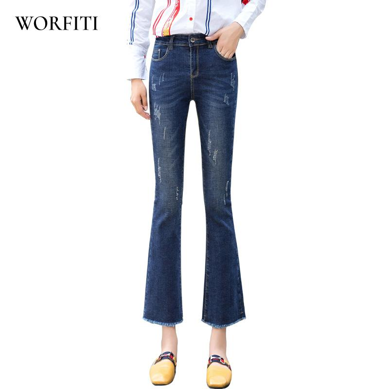 2018 Autumn Flare Jeans Pants Plus Size Stretch Skinny Jeans Women