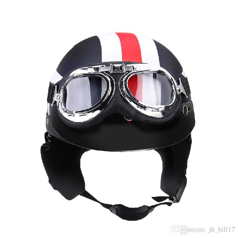 Vintage Unisex Motorcycle Helmets with Cycling Goggles Half Open Face Strip Stars Helmet Retro 54-60cm Universal Cool Men Women Helmet