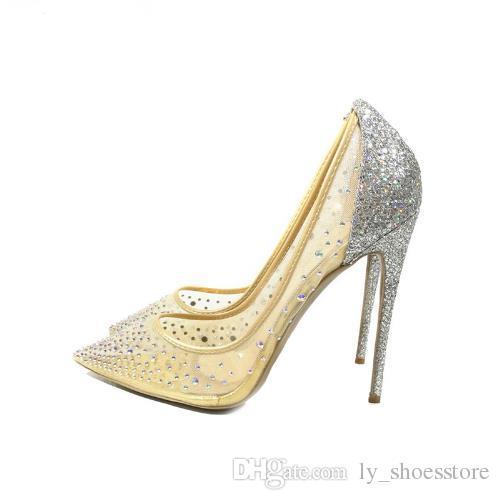 d7dcc53852d Compre Design De Moda Bling Prata Das Mulheres Bombas De Salto Alto Verão  Ver Através Da Festa De Casamento Sapatos Stiletto 12 Cm Saltos Finos De ...