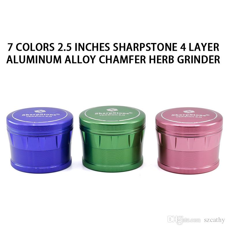 Sharpstone 2.0 Tambor Grinder 63 milímetros 2,5 polegadas Herb Grinders 4 camadas Super alumínio de alta qualidade Moedor de metal 7 cores disponíveis