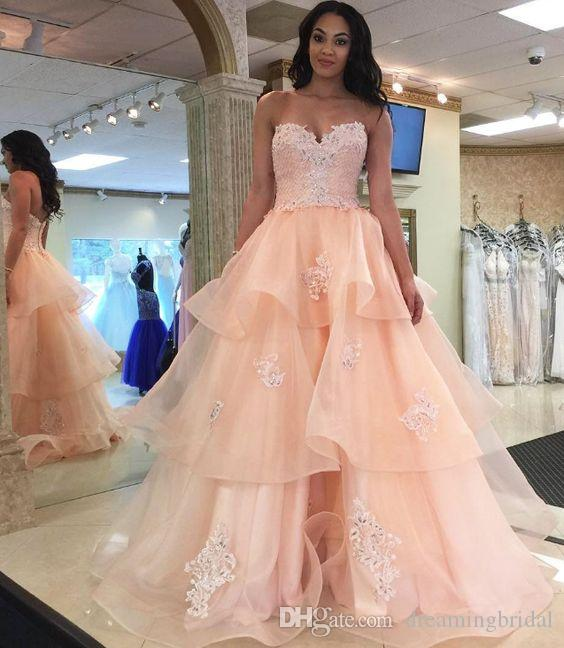 509dbd8a40081 Modern Ball Gown Prom Dresses 2018 New Sleeveless Sweetheart Lace Applique  Tiered Floor Length Formal Evening Dress Party Gowns Custom Made Prom  Dresses ...