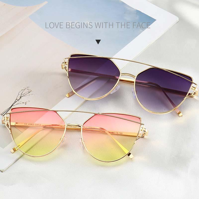 6f291edfc82 2018 Cat Eye Vintage Brand Designer Rose Gold Mirror Sunglasses Driving  Women Metal Reflective Flat Lens Sun Glasses Female Best Sunglasses For Men  Vuarnet ...