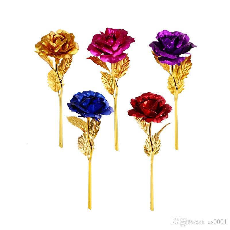 Acheter 24 Carats Plaque Or Longue Tige Dore Rose Fleur Romantique