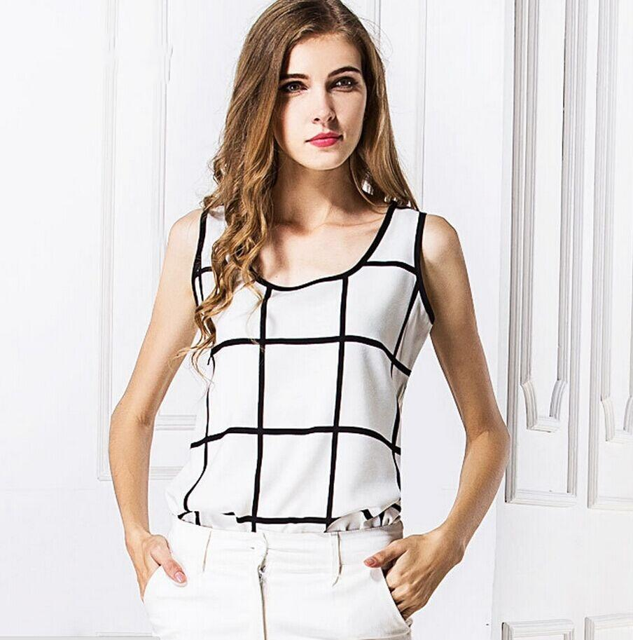 ee69a585c 2019 2015 New Fashion Women Chiffon Tank Tops Vest Shirts Plaid ...