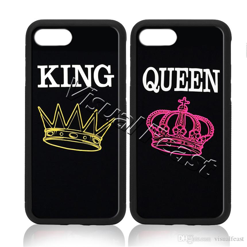 new concept 84b40 e5a24 King and Queen Couple Love Phone Case Fashion Simple For iPhone 7 Plus Cell  Phone Cover Free Gift