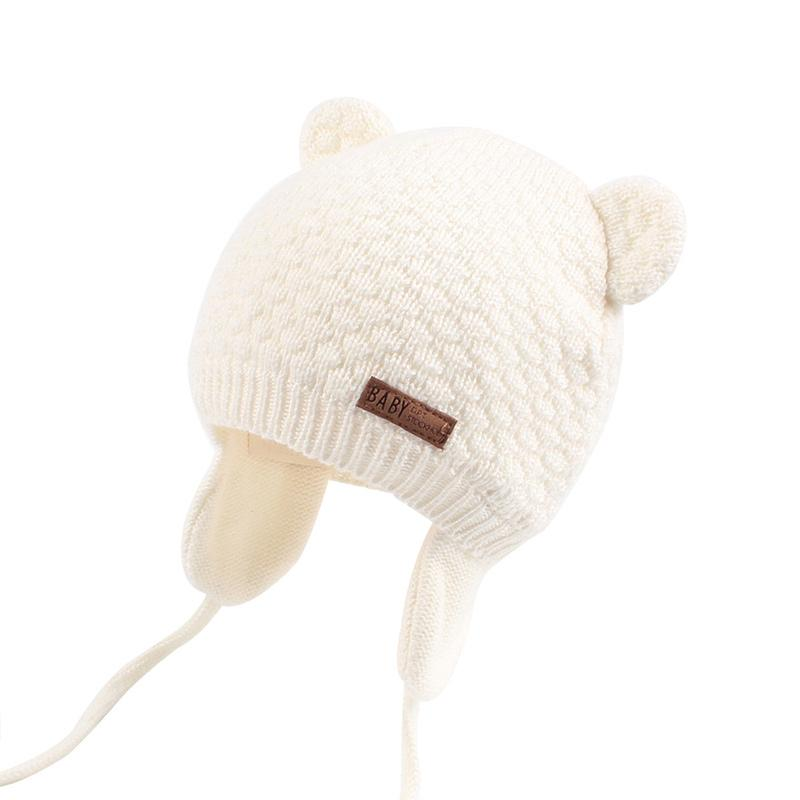 Bear Ears Cute Baby Hat Soft Cotton Newborn Baby Beanie Double Layer Warm Winter Hat For Baby Girls Boys Knitted Kids Hats New (15)