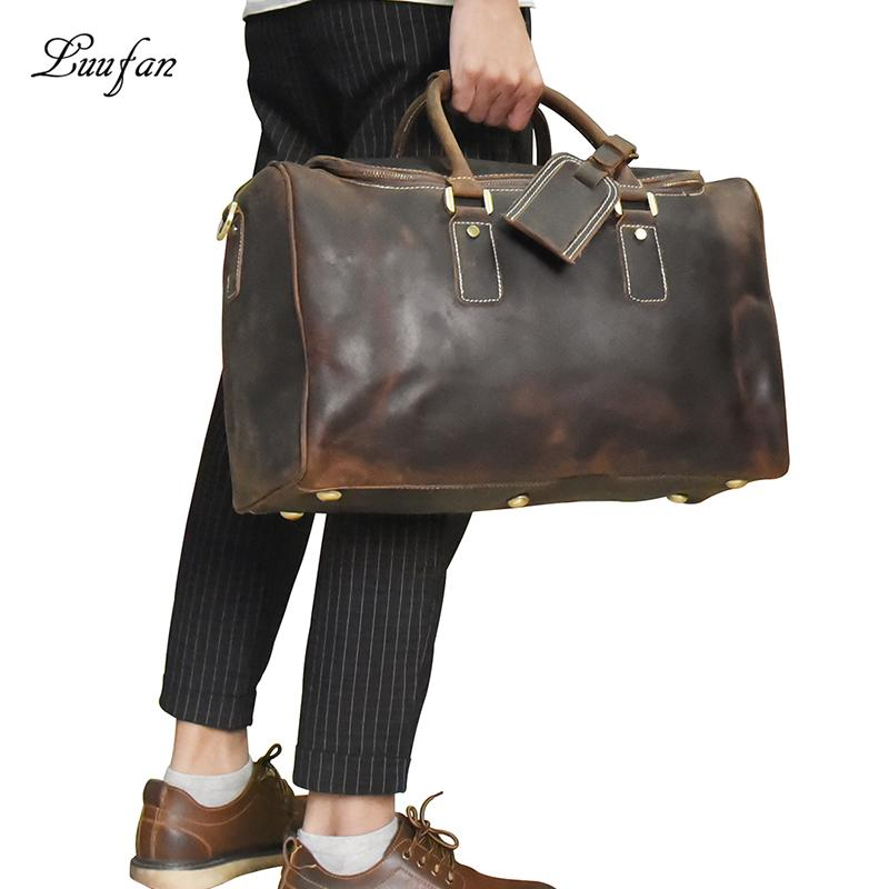 19b9135f7d32 Men S Crazy Horse Leather Travel Bag Zip Around Brown Durable Genuine  Leather Travel Duffel Big Luggage Laptop Shoulder Bags Wheeled Duffle Bags  Carry Bags ...
