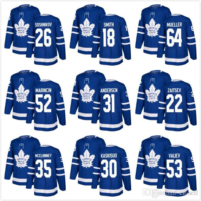 2019 Toronto Maple Leafs Soshnikov 18 Smith 64 Mueller Marincin 31 Frederik  Andersen 22 Nikita Zaitsev McElhinney Kaskisuo Valiev Hockey Jerseys From  Cn ... 04f11ac3d