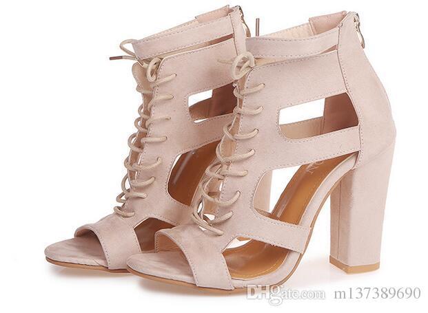 e2cbf6703db7 2018 Wind Flock Women Sandals Gladiator High Heels Strap Pumps Lace ...