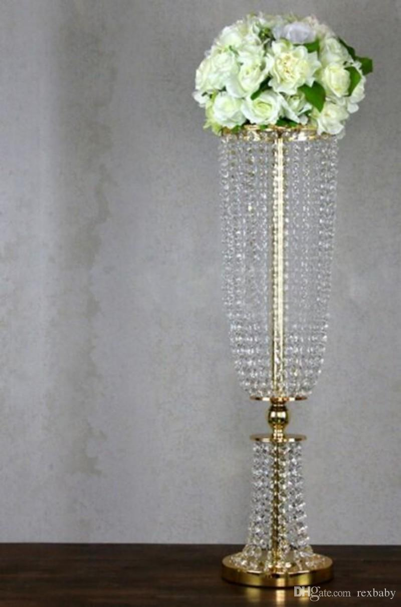 wedding supply Metal Crystal Bead Banquet Table Centerpiece silver gold color party decorate Chandelier