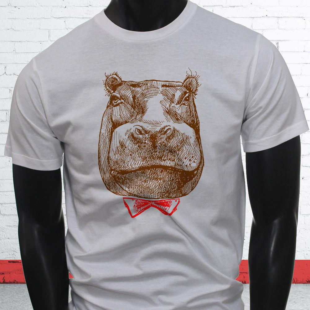 d063d00a8 Bow Tie Classy Hippo Animal Mustache Funny Hello Mens White T Shirt Funny  Unisex Casual Gift T Shirt Making T Shirts For Sale From Lukehappy12, ...