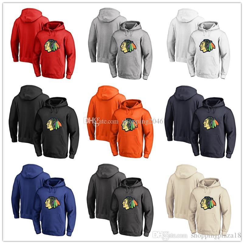 buy popular 02743 3bfd1 Men's Chicago Blackhawks Fanatics Branded Black Ash White Red Orange  embroidery Primary Logo Pullover Hoodies long Sleeve Outdoor Wear