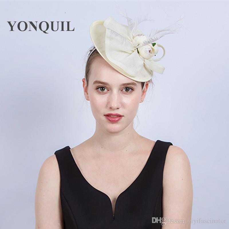 Ladies Fancy Races Ivory Wedding Hats Fascinators Bridal Headpieces with  Flowers Party Tocados Sombreros Bodas Imitation Sinamay Hats SYF187 Party  Hat ... 6334be66aae