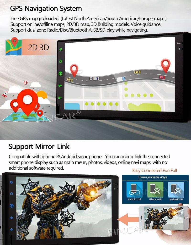 Android سيارة فيديو ستيريو راديو مزدوج 2 الدين في اندفاعة رئيس وحدة رباعية النواة 7 بوصة دعم GPS ملاحة بلوتوث Autoradio FM / AM
