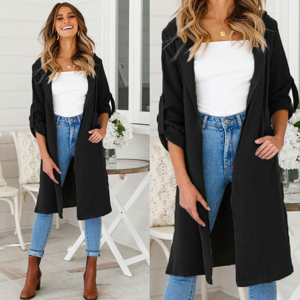 3cc86250e52 2018 New Long Trench Coat Cape For Women UNIF Autumn Outfits Women s  Windbreaker Cardigan Overcoat Fashion Women Cloth Outwear