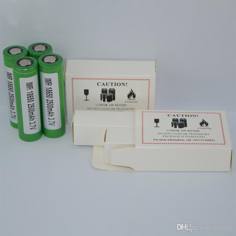 18650 Lithium Battery 2500mah Green 30a Max Discharger Rechargeable High Drain Battery For E cig Mods 25R