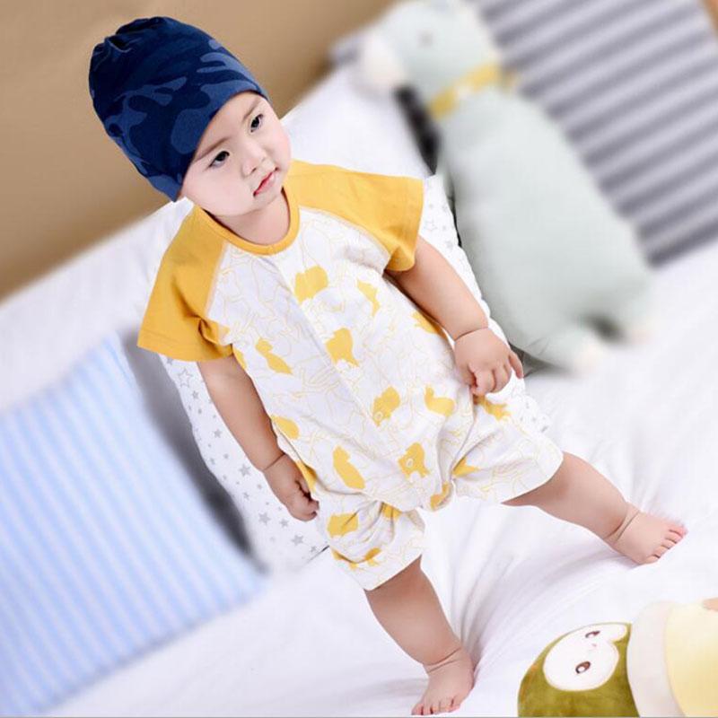 a7d40450b099 2018 Summer Fashion Baby Rompers Cartoon Khaki Cotton Coverall Half ...