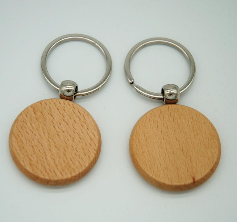50pcs Blank Round Wooden Key Chain DIY Promotion Customized Key Tags  Promotional Gifts