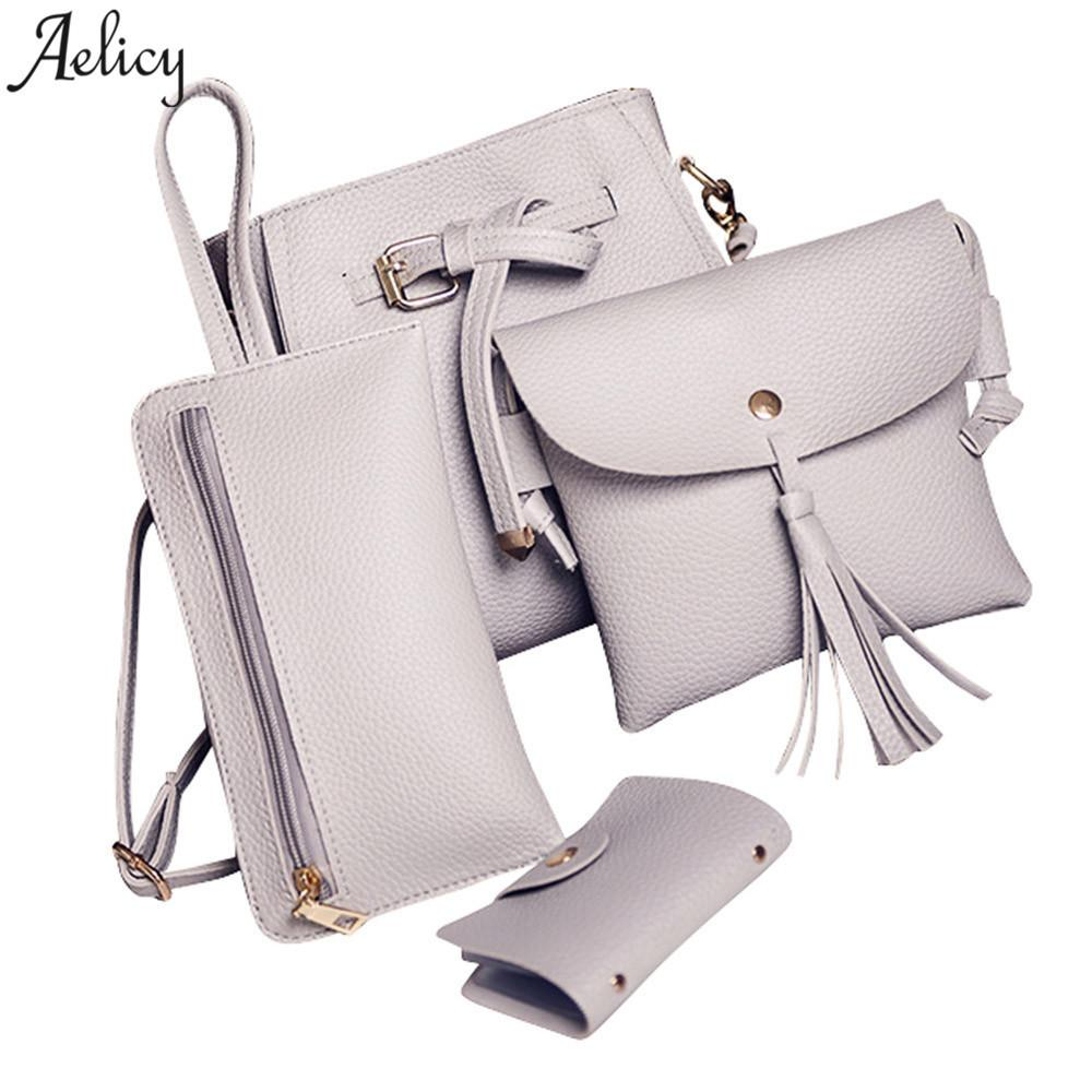 Aelicy Girl Shoulder Bag Four Set Fashion Women Handbag Four Pieces Tote  Crossbody Bag+Wallet Bolsa Feminina Dropship 2018 Hot Crossbody Purses  Wholesale ... 9940cd66bd2bd