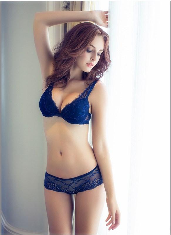 792f5bd24a04c Sexy Lace Deep V Underwear Women Set Fashion Seductive Push Up Bra ...