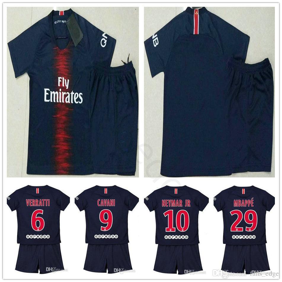 2018 2019 Niños Paris Saint Germain Soccer Jerseys BUFFON CAVANI NEYMAR JR  MBAPPE VERRATTI Casero Azul Custom Youth Boy Niños Fútbol Shirt Por  Chen shop d617dbb2405b5