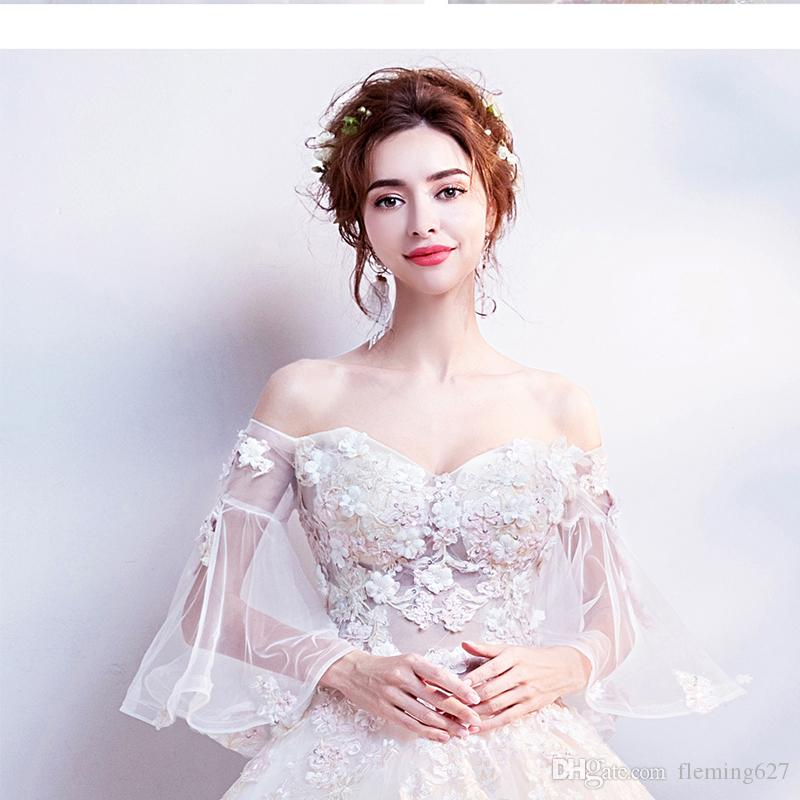 2019 Hand Embroidered Lace Fairy Petal Air Horn Sleeve Sexy Tube Top Long Princess  Dress Funky Bride Trailing Wedding Gown Party Dresses From Fleming627 dcbbcd5a3ac4