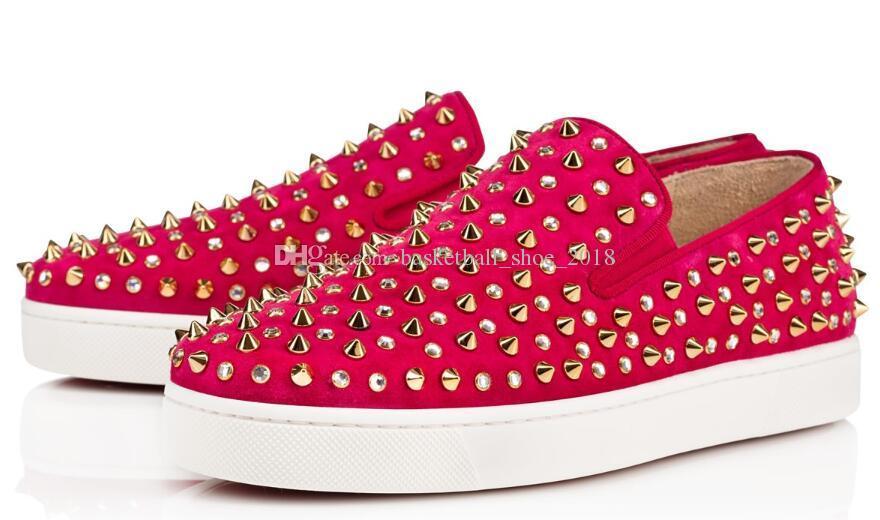 Comprar Zapatillas inferiores rojas Zapatillas informales Hombres Mujeres Low Black Diseñador Completo Spikes Roller Boat Flats Monopatín Mocasines Hombre de lujo Mujer Zapato