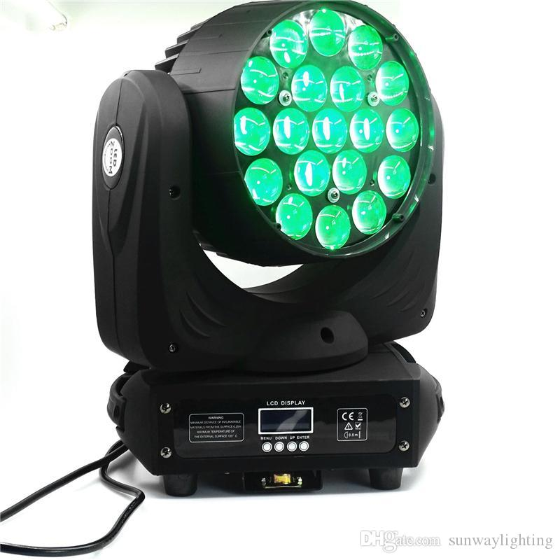 Zoom Moving Head Light Beam Wash Stage Lighting 19pcs 15w Quad High Power  Led Can work with Aura CTO adjustable