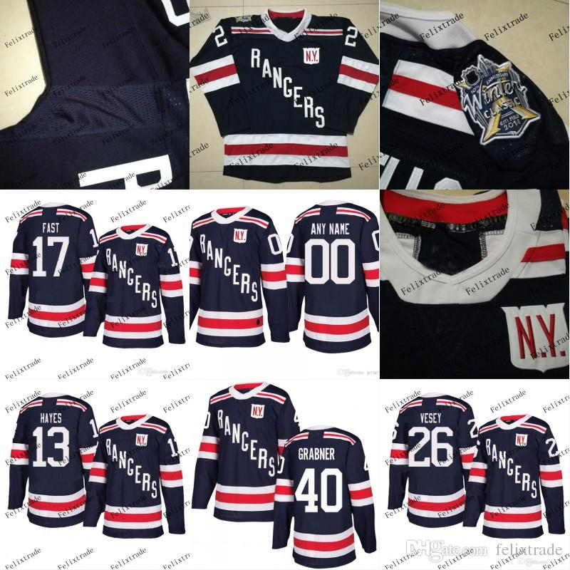 new styles 03208 0bbaf New York Rangers 2018 Winter Classic Jersey 26 Jimmy Vesey 17 Jesper Fast  40 Michael Grabner 13 Kevin Hayes Stiching Hockey Jerseys