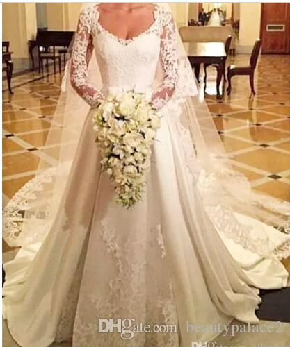 Vintage 2018 New Arrival Wedding Dresses Robe de marriage V Neck Lace Applique Long Sleeves Sweep Train Wedding Dress Bridal Gowns