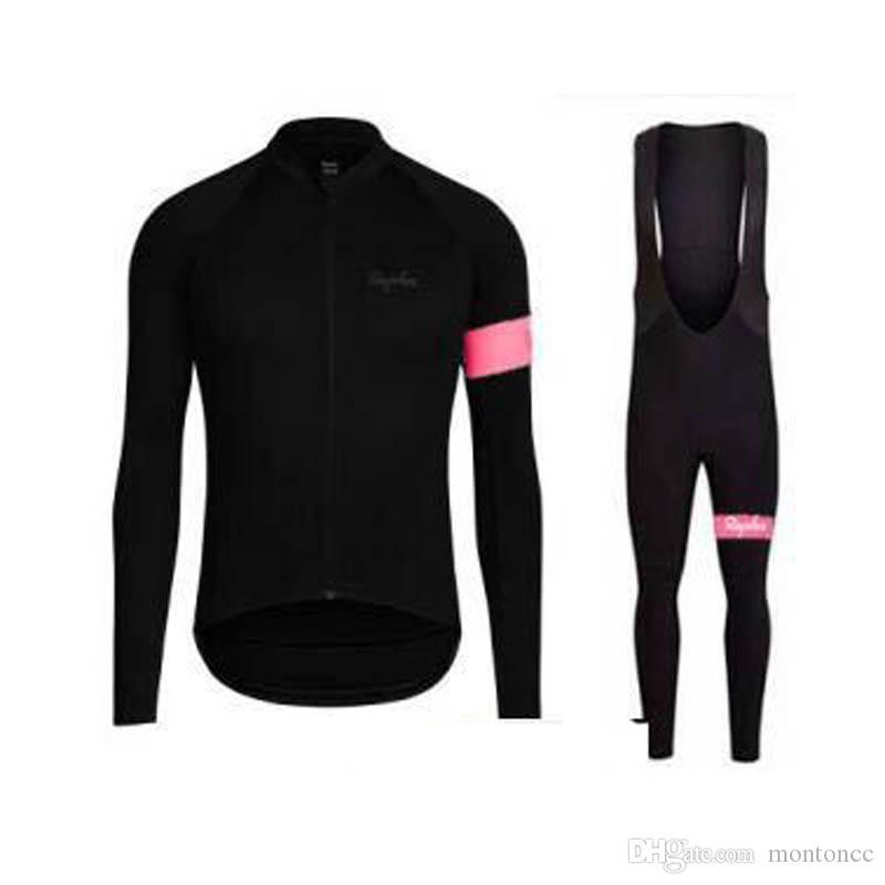 Venda quente! Equipe RAPHA Ciclismo manga comprida jersey bib calças conjuntos roupas de bicicleta respirável mtb ropa ciclismo quick dry roupas de bicicleta e61501