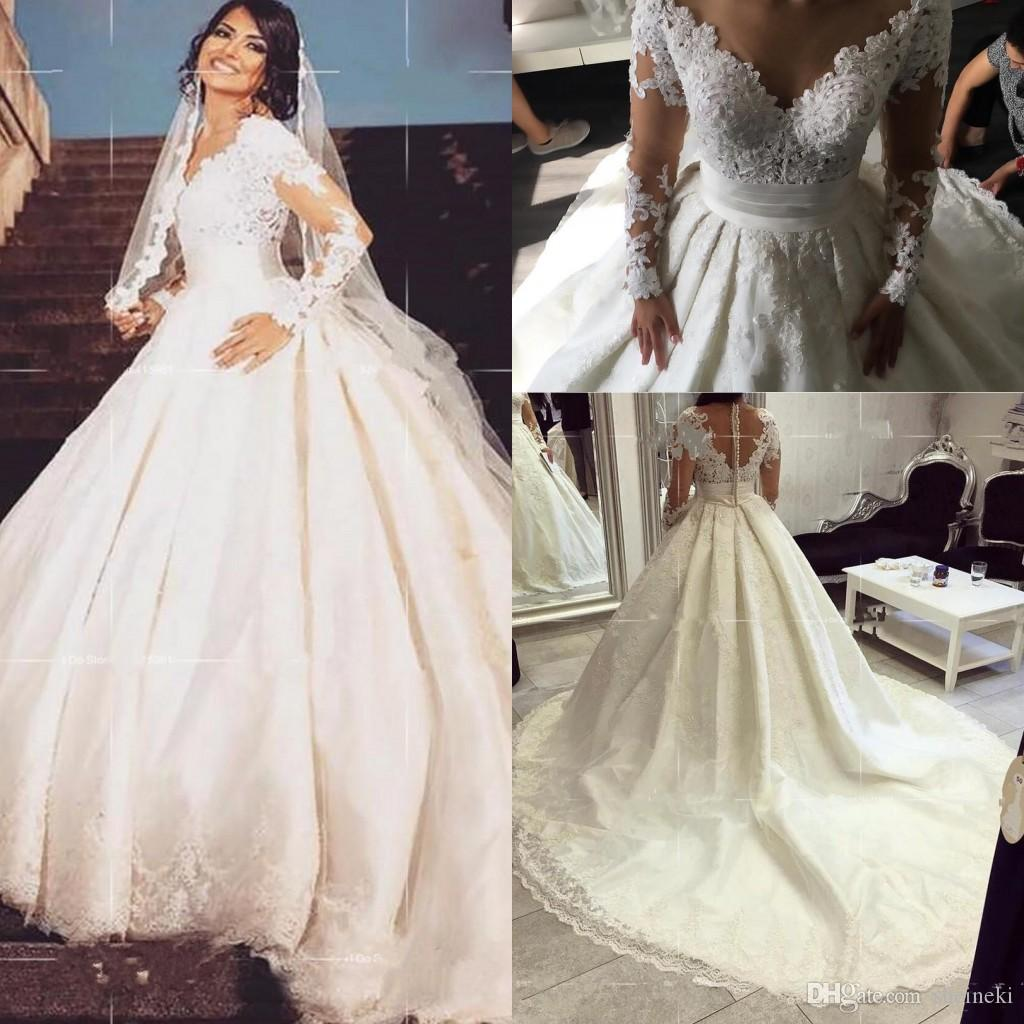 Discount 2018 New Sex V Neck Lace Applique Wedding Dress Sheer Long Sleeves  Bodice Court Train Plus Size Wedding Bridal Gowns Vestido De Noiva Curto  Second ... 1e408608fd20