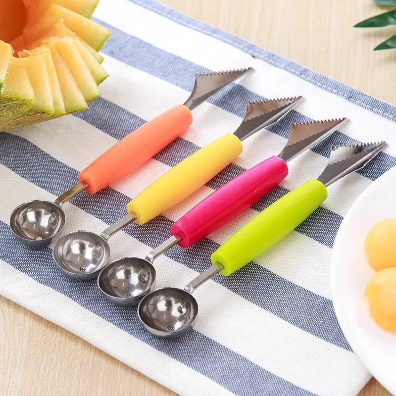 Cuchillo de tallado de la bola de la fruta de doble cabeza Cuchillo de acero inoxidable de múltiples funciones Cuchara de la fruta Cuchara de helado de la sandía de la sandía de Hami