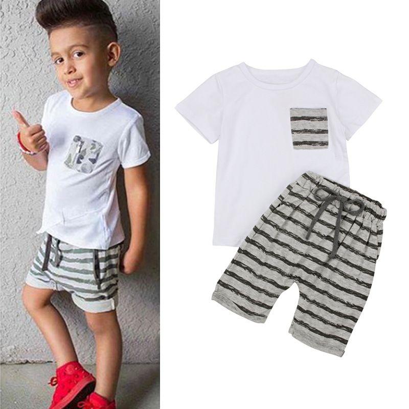 Compre 2018 Moda Bebê Menino Roupas De Manga Curta Camiseta Branca 4cef472daa2