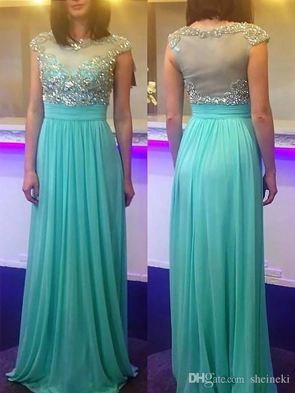7560feba499 2018 Modest Mint Chiffon Sheer Crew Prom Dresses Cap Sleeves Beaded Crystal  Plus Size Graduation Evening Gowns Party Dress Custom Made Dresses For  Juniors ...